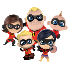 Incredibles 2 - Cosbaby 3.5-5 inch Hot Toys Bobble-Head Figure Collectable 5-Pack