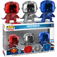 Superman - Superman Chrome Pop! Vinyl Figure 3-Pack (2018 Fall Convention Exclusive)