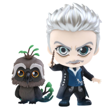 Fantastic Beasts 2: The Crimes of Grindelwald - Gellert Grindelwald and Augurey Cosbaby 3.75 Inch Hot Toys Bobble-Head Figure 2-Pack
