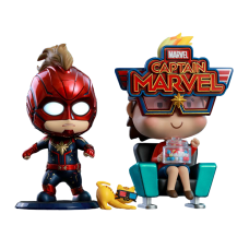 Captain Marvel (2019) - Captain Marvel and Movbi Cosbaby Hot Toys Bobble-Head Figure 2-Pack
