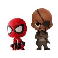 Spider-Man: Far From Home - Spider-Man & Nick Fury Cosbaby 3.75 Inch Hot Toys Bobble-Head Figure 2-Pack