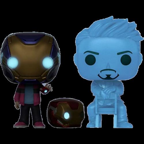 Avengers 4: Endgame - Hologram Tony Stark & Morgan with Helmet Glow in the Dark Pop! Vinyl Figure 2-Pack