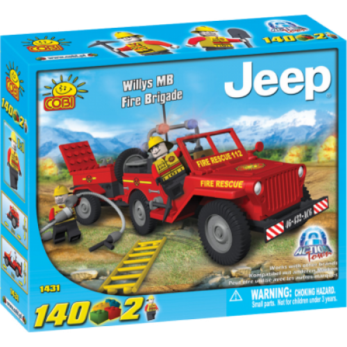 Action Town - 140 Piece Willys MB Jeep Fire Brigade Construction Set