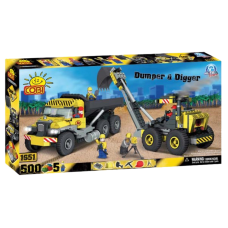 Action Town - 500 Piece Construction Dumper and Digger Construction Set