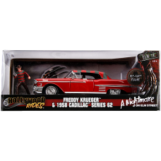 A Nightmare on Elm Street - Freddy Kreuger with 1958 Cadillac s62 1/24th Scale Hollywood Rides Die-Cast Vehicle Replica