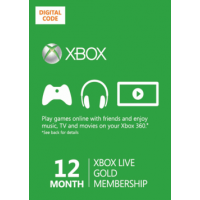 Xbox Live Gold 12 Month Membership Card Xbox 360 and Xbox One Digital Download