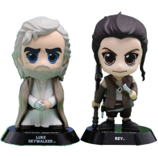 Star Wars Episode VII: The Force Awakens - Luke Skywalker and Rey Cosbaby 3.75 Inch Hot Toys Bobble Head Figure 2-Pack