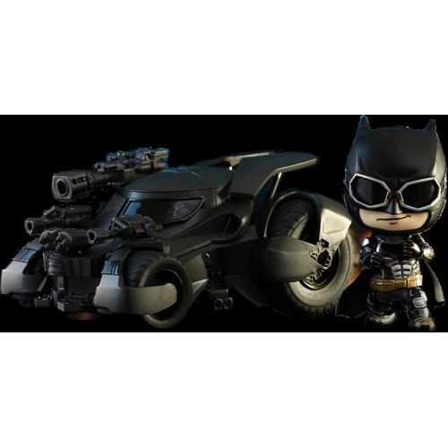 Justice League (2017) - Batman with Batmobile Cosbaby 3.75 inch Hot Toys Bobble Head Figure Set